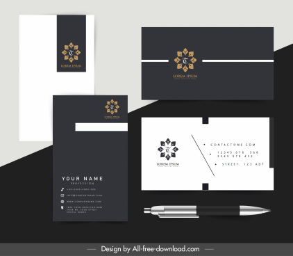 corporate identity templates floral decor elegant black design