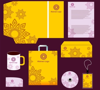 corporate identity templates with yellow and violet design