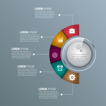 corporate infographics template modern shiny semicircular design