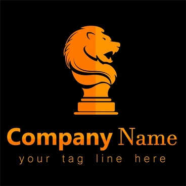 corporate logo design with lion emblem on dark