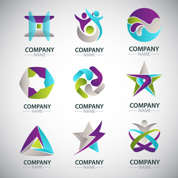 corporate logo sets design with various shapes