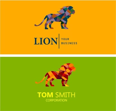 corporate logo sets illustration with low polygon lion