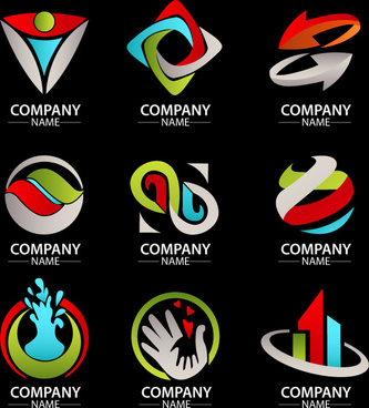 corporate logo sets with various colored shapes illustration