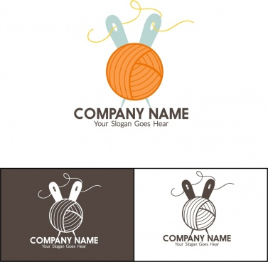 corporate logotype isolation needlework icons design