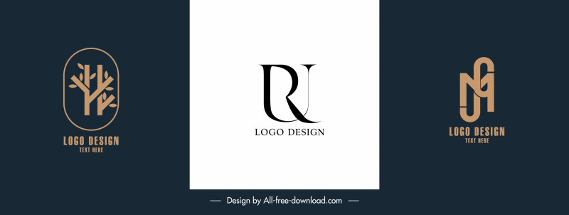 corporate logotypes flat texts tree shapes sketch