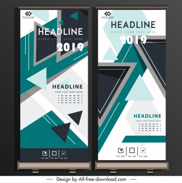 corporate poster standee scroll design geometric triangles decor