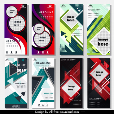 corporate poster template colorful abstraction modern vertical design