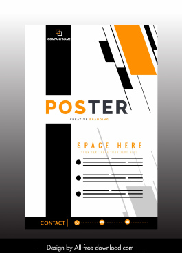 corporate poster template modern flat decor vertical design