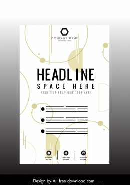 corporate poster template modern flat geometric sketch