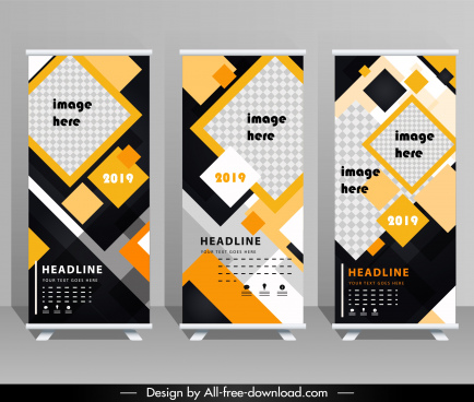 corporate poster template standee scroll shape colorful geometric