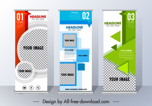 corporate poster template vertical scroll modern geometric decor