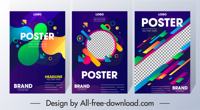 corporate poster templates colorful modern geometric decor