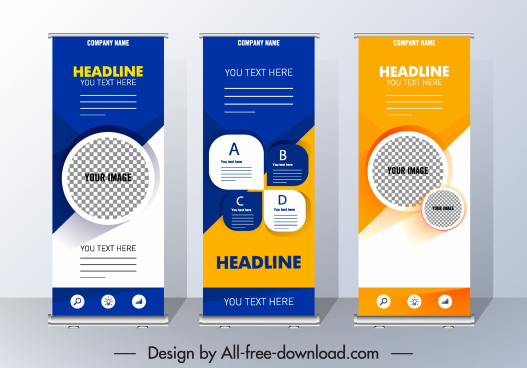 corporate poster templates roll up shaped colorful modern