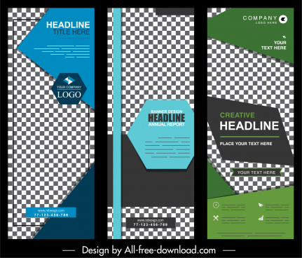 corporate posters templates colorful checkered decor standee shapes
