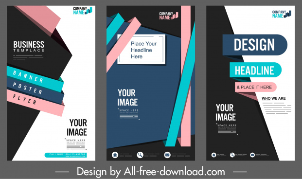 corporate posters templates colorful modern abstract technology decor