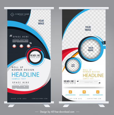 corporate rolled up banners colorful modern technology decor