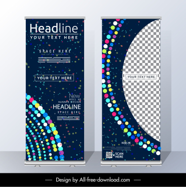 corporate standee banner modern colorful light checkered decor