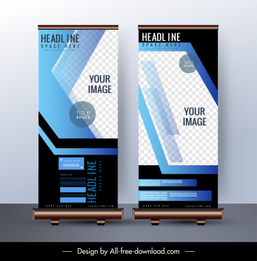 corporate standee banner template dark colorful modern decor