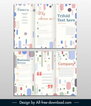 corporate trifold brochure bright colorful flat geometric decor