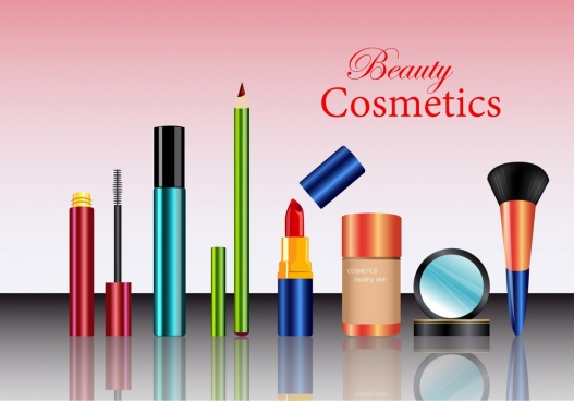 cosmetic advertisement makeup accessories display shiny reflection design