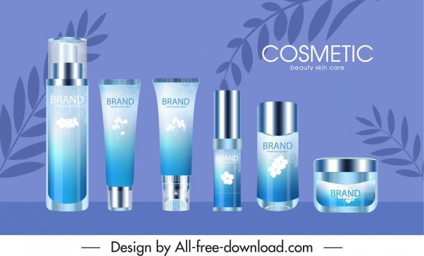 cosmetic advertisement poster elegant blue decor modern design