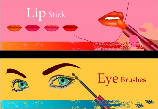 cosmetic advertisement sets lipstick mascara accessories icons