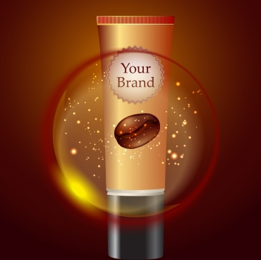 cosmetic advertisement sparkling ornament realistic cream tube