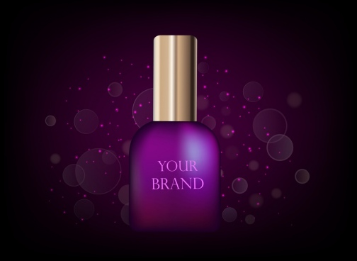 cosmetic advertisement violet nail polish icon bokeh backdrop