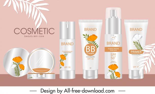 cosmetic advertising banner elegant classic design leaf decor