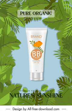 cosmetic advertising banner realistic design leaves decor