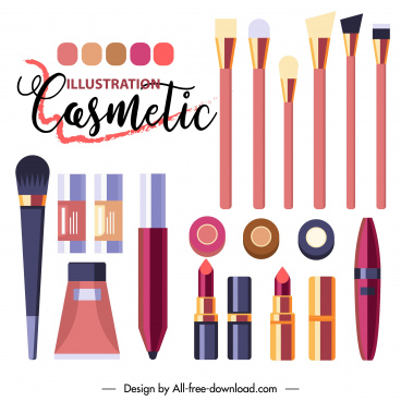 cosmetic advertising poster colorful flat tools sketch