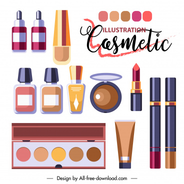 cosmetic advertising poster modern colorful flat sketch