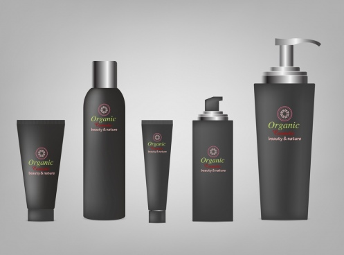 cosmetic advertising shiny black bottle icons realistic design