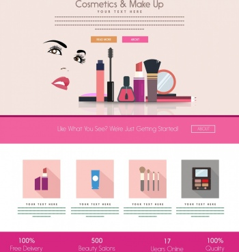 cosmetic branding advertisement webpage design style