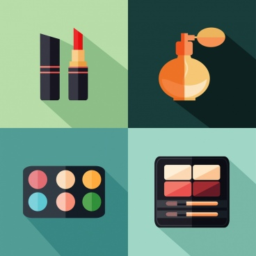 cosmetic design elements flat colorful isolation
