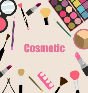 cosmetic design elements various accessories icons flat design