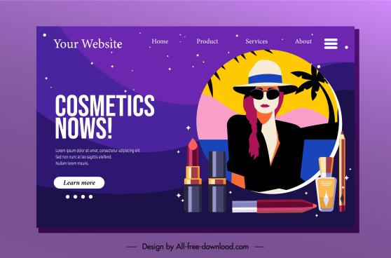 cosmetic homepage template elegant lady sketch