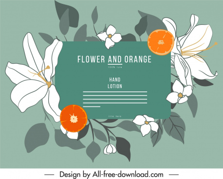 cosmetic label template flowers fruits decor handdrawn classic