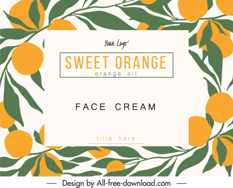 cosmetic label template orange sketch flat classic design