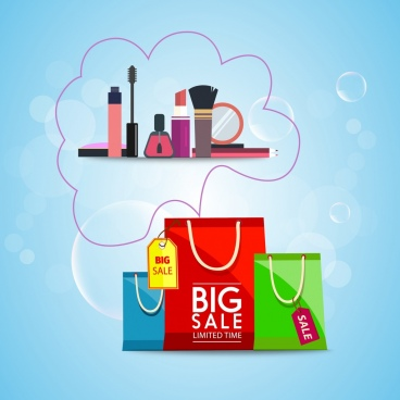 cosmetic sales background shopping bag makeup tools ornament