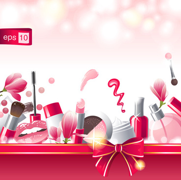cosmetic with beauty background vector