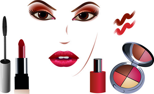 cosmetics and make up elements vector