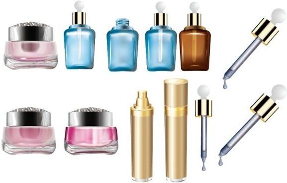 cosmetics bottles vector