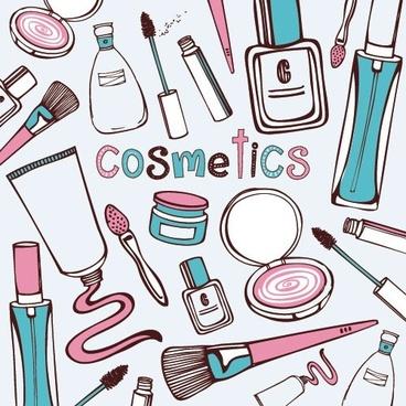 cosmetics handpainted vector