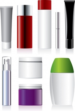 cosmetic package icons shiny colored modern realistic design