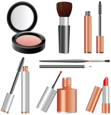 cosmetics tools icons shiny colored realistic design