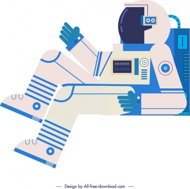 cosmos background spaceman icon blue white flat sketch