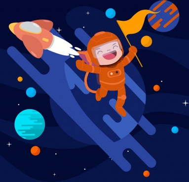 cosmos background spaceship planets astronaut icons cartoon design