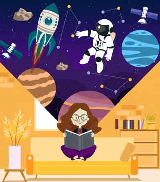 cosmos science background reading girl astrology design elements