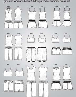 woman fashion templates shirt shorts trouser underwear icons